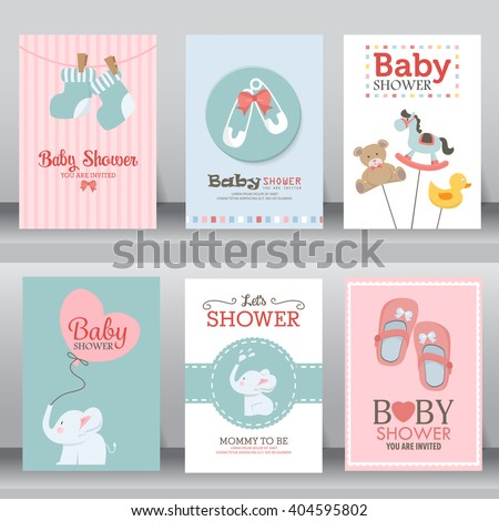 happy birthday, baby shower for newborn celebration greeting and invitation card or note.  there are shoes, elephant, teddy bear, brooch, heart, toy. layout template in A4 size. vector illustration.