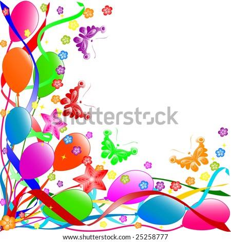 happy birthday balloons and cake. happy birthday balloons