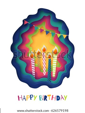 Happy birthday background. Paper cut creative illustration with colorful candles. Birthday party invitation vector template