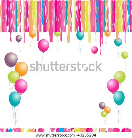 stock vector : Happy birthday! Balloons and confetti. I
