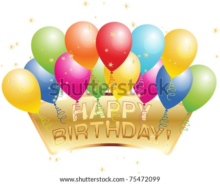 Happy Birthday Balloons And Stars Stock Vector 75472099 : Shutterstock