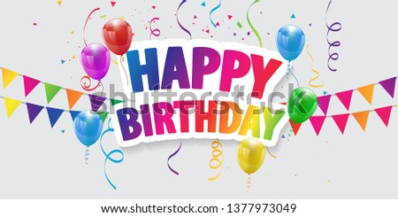 Happy Birthday balloons Colorful celebration background with confetti.