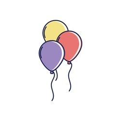 happy birthday, balloons decoration festive celebration party vector illustration line and fill style