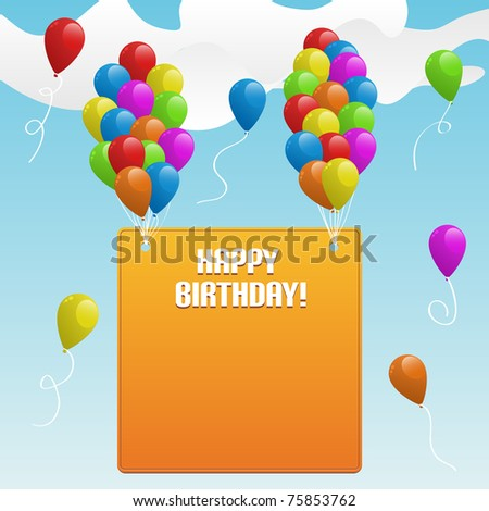 animated happy birthday balloons. happy birthday cartoon banner.