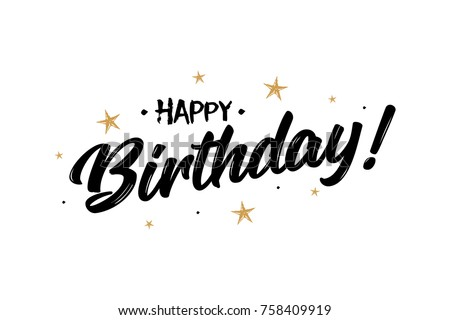 Happy Birthday. Beautiful greeting card poster calligraphy black text Word gold ribbon. Hand drawn design elements. Handwritten modern brush lettering on a white background isolated vector
