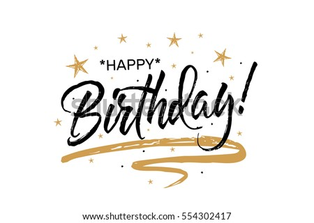 Shutterstock Happy Birthday.Beautiful greeting card scratched calligraphy black text word gold stars. Hand drawn invitation T-shirt print design. Handwritten modern brush lettering white background isolated vector