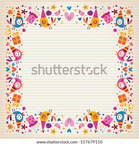 Royalty Free Happy Birthday Border Lined Paper Card 157684547