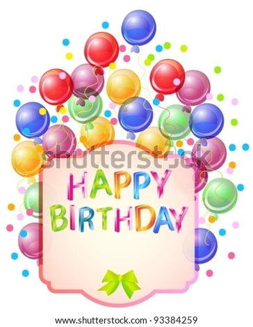 Happy birthday bright card, beautiful celebration background, vector