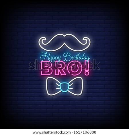 Happy Birthday Bro Neon Signs Style Text Vector Stock foto ©