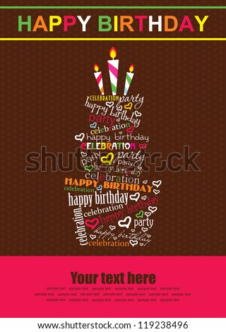 happy birthday cake card design. vector illustration