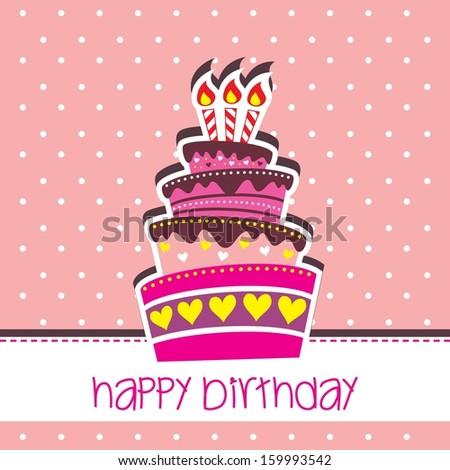 happy birthday cake card vector