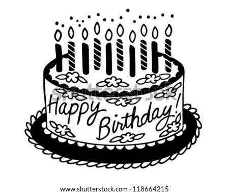 Happy Birthday Cake - Retro Clipart Illustration