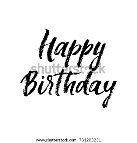 Happy Birthday Calligraphy Greeting Card Hand Drawn Vector Font