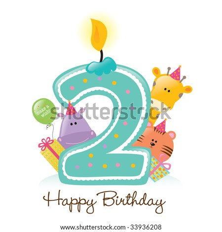 Happy Birthday Candle and Animals Isolated over white