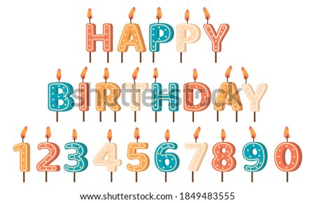 Happy Birthday candles. Birthday Party letters and numbers wax candles, anniversary holiday cute birthday cake candles vector illustration set. Decoration for holiday celebration, surprise event