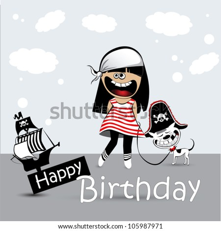 Happy Birthday Card a child with a toy dog pirate