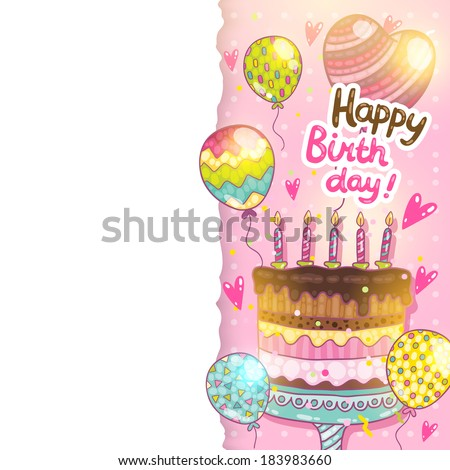 Happy Birthday card background with cake. Vector holiday party template