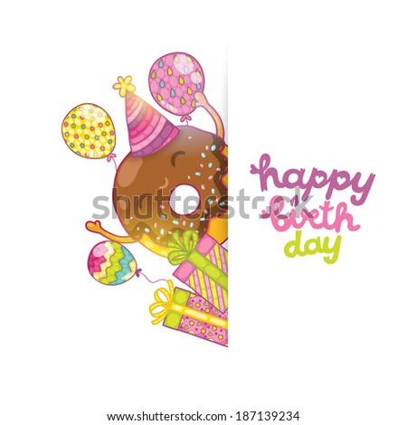 Happy Birthday Card Background With Cute Donut Vector Holiday Party
