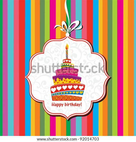 Happy birthday card Birthday cake Vector Illustration