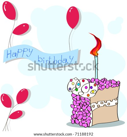 happy birthday balloons and cake. stock vector : happy birthday