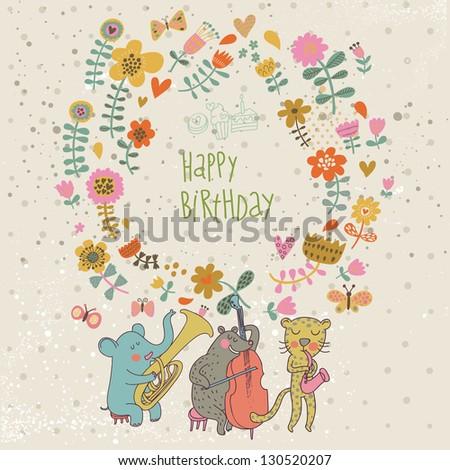 Happy birthday card. Cartoon funny animals � elephant, bear and leopard wishes happy birthday. Vector illustration