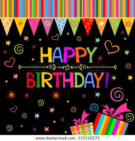 Happy Birthday Card. Celebration Black Background With Birthday ...