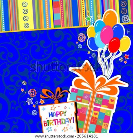 Happy birthday card. Celebration blue background with Birthday gift boxes, balloon and place for your text. vector illustration