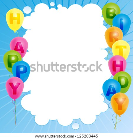 Happy Birthday Card- Color Balloons With With Happy Birthday Sign