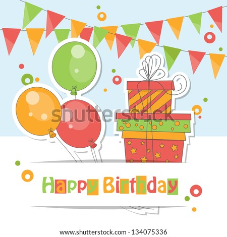 Happy Birthday card . Colorful illustration of balloons, gift and garland of flags.