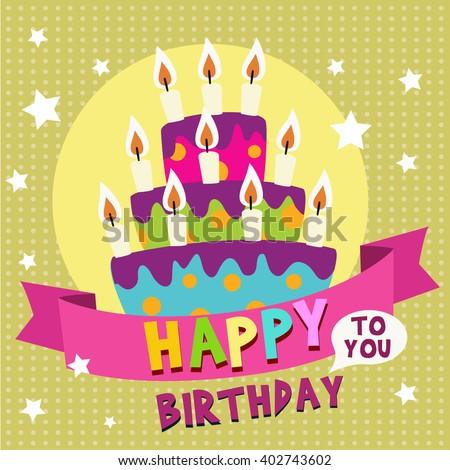 Birthday Cake Design Template : Happy Birthday Card Design Template With Image Of Birthday ...