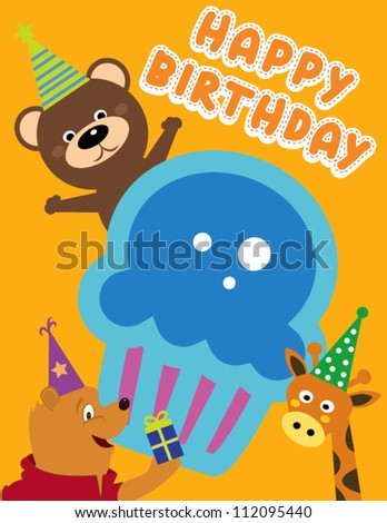 Happy birthday card design with cupcakes and animals