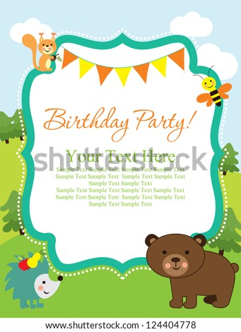 happy birthday card. forest friends. vector illustration