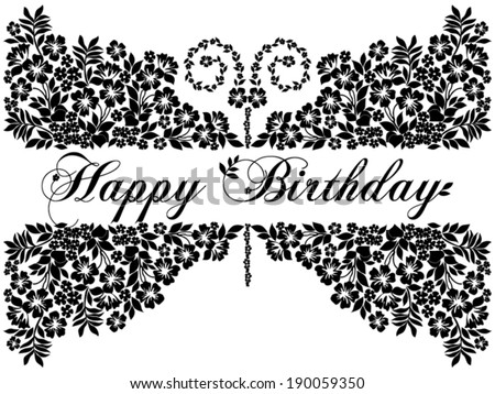 Happy Birthday Greeting Black And White Free Vector Download 17658