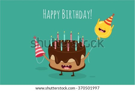 happy birthday card funny cake