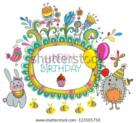 Happy birthday card, funny cartoon set with hedgehog and hare, vector