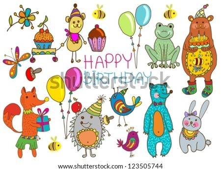 Happy birthday card, funny cartoon set with mouse, fox, bear, wolf, frog, hedgehog and hare, vector