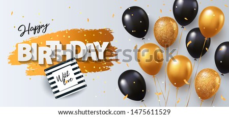 Happy Birthday card. Holiday illustration with gift box, black and gold balloons, confetti and texture of golden brush strokes on a white background. Birthday day poster design, social and fashion ads ストックフォト ©