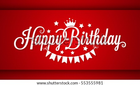 Happy Birthday Card On Red Background