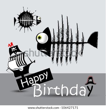 Happy Birthday Card pirate fish  funny