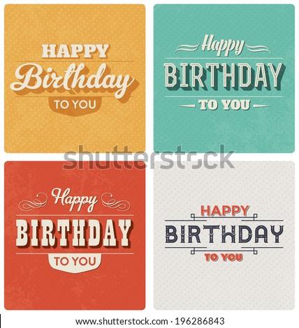 Happy Birthday Card - Retro Style Design Set