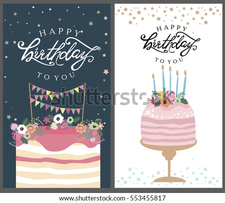 Happy birthday card design with balloons and confetti download happy birthday card set template for greeting invitation cards gifts posters and bookmarktalkfo Images