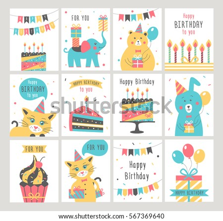 Birthday card design download free vector art stock graphics images happy birthday card set vector illustration bookmarktalkfo Choice Image