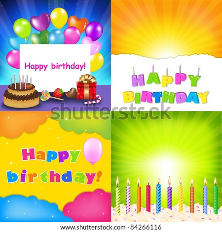 Happy Birthday Card Set, Vector Illustration