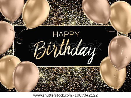 Happy Birthday card template with golden foil confetti and balloons