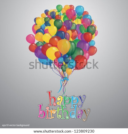 happy birthday card with balloons. eps10,vector