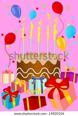 Happy Birthday Card With Birthday Cake And Presents Sto