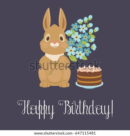 Happy birthday card with bunny/rabbit holding bouquet of flowers and birthday cake. Vector illustration