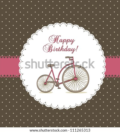 happy birthday card with cute bike. vector illustration
