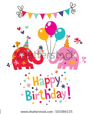 happy birthday card with cute elephants