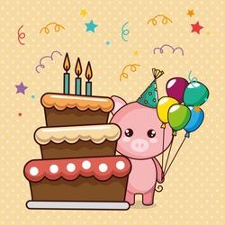 happy birthday card with cute pig